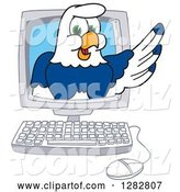 Vector Illustration of a Cartoon Seahawk Mascot Emerging from a Desktop Computer Screen by Toons4Biz