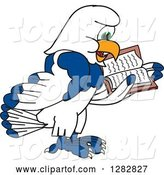 Vector Illustration of a Cartoon Seahawk Mascot Facing Right and Reading a Book by Toons4Biz