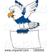 Vector Illustration of a Cartoon Seahawk Mascot Flying with a Blank Sign by Toons4Biz