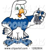 Vector Illustration of a Cartoon Seahawk Mascot Holding a Cell Phone by Toons4Biz