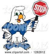 Vector Illustration of a Cartoon Seahawk Mascot Holding a Stop Sign by Toons4Biz