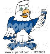 Vector Illustration of a Cartoon Seahawk Mascot Holding a Tooth That Has Fallen out by Toons4Biz