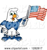 Vector Illustration of a Cartoon Seahawk Mascot Holding an American Flag by Toons4Biz