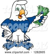 Vector Illustration of a Cartoon Seahawk Mascot Holding Cash Money by Toons4Biz