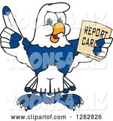 Vector Illustration of a Cartoon Seahawk Mascot Holding up a Finger and a Report Card by Toons4Biz