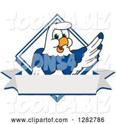 Vector Illustration of a Cartoon Seahawk Mascot over a Diamond and Blank Banner by Toons4Biz