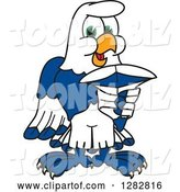Vector Illustration of a Cartoon Seahawk Mascot Pointing Outwards by Toons4Biz
