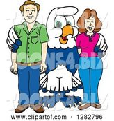 Vector Illustration of a Cartoon Seahawk Mascot Posing with Parents by Toons4Biz