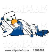 Vector Illustration of a Cartoon Seahawk Mascot Resting on His Side by Toons4Biz