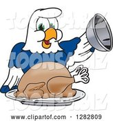 Vector Illustration of a Cartoon Seahawk Mascot Serving a Thanksgiving Turkey by Toons4Biz