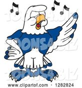 Vector Illustration of a Cartoon Seahawk Mascot Singing in Chorus by Toons4Biz