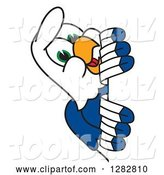Vector Illustration of a Cartoon Seahawk Mascot Smiling Around a Sign by Toons4Biz