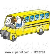 Vector Illustration of a Cartoon Seahawk Mascot Waving and Driving a Bus by Toons4Biz