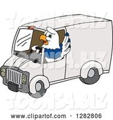 Vector Illustration of a Cartoon Seahawk Mascot Waving and Driving a Delivery Van by Toons4Biz