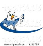 Vector Illustration of a Cartoon Seahawk Mascot Waving over a Blue Dash Logo by Toons4Biz