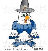 Vector Illustration of a Cartoon Seahawk Mascot Wearing a Thanksgiving Pilgrim Hat by Toons4Biz