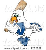 Vector Illustration of a Cartoon Seahawk Sports Mascot Baseball Player Character Batting by Toons4Biz