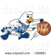 Vector Illustration of a Cartoon Seahawk Sports Mascot Dribbling a Basketball by Toons4Biz