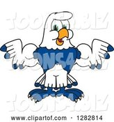 Vector Illustration of a Cartoon Seahawk Sports Mascot Flexing His Muscles by Toons4Biz