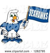 Vector Illustration of a Cartoon Seahawk Sports Mascot Holding a Flag by Toons4Biz