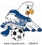Vector Illustration of a Cartoon Seahawk Sports Mascot Playing Soccer by Toons4Biz