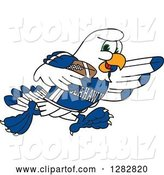 Vector Illustration of a Cartoon Seahawk Sports Mascot Running with an American Football by Toons4Biz