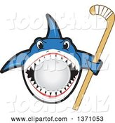 Vector Illustration of a Cartoon Shark School Mascot Biting a Ball and Holding a Stick by Toons4Biz