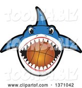 Vector Illustration of a Cartoon Shark School Mascot Biting a Basketball by Toons4Biz