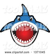 Vector Illustration of a Cartoon Shark School Mascot Biting a Dodgeball by Toons4Biz