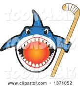 Vector Illustration of a Cartoon Shark School Mascot Biting a Hockey Ball and Holding a Stick by Toons4Biz