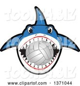 Vector Illustration of a Cartoon Shark School Mascot Biting a Volleyball by Toons4Biz