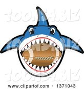 Vector Illustration of a Cartoon Shark School Mascot Biting an American Football by Toons4Biz