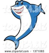 Vector Illustration of a Cartoon Shark School Mascot Cheering by Toons4Biz