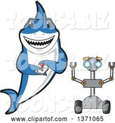 Vector Illustration of a Cartoon Shark School Mascot Controlling a Robot by Toons4Biz
