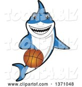 Vector Illustration of a Cartoon Shark School Mascot Dribbling a Basketball by Toons4Biz