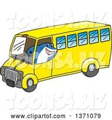 Vector Illustration of a Cartoon Shark School Mascot Driving a School Bus by Toons4Biz