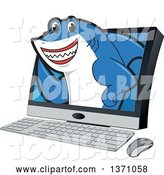 Vector Illustration of a Cartoon Shark School Mascot Emerging from a Desktop Computer Screen by Toons4Biz
