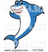 Vector Illustration of a Cartoon Shark School Mascot Flexing His Fins by Toons4Biz
