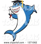 Vector Illustration of a Cartoon Shark School Mascot Graduate Holding a Diploma by Toons4Biz