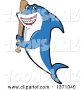 Vector Illustration of a Cartoon Shark School Mascot Holding a Baseball Bat by Toons4Biz