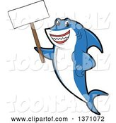 Vector Illustration of a Cartoon Shark School Mascot Holding a Blank Sign by Toons4Biz