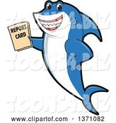 Vector Illustration of a Cartoon Shark School Mascot Holding a Report Card by Toons4Biz