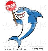 Vector Illustration of a Cartoon Shark School Mascot Holding a Stop Sign by Toons4Biz
