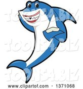 Vector Illustration of a Cartoon Shark School Mascot Holding a Tooth by Toons4Biz