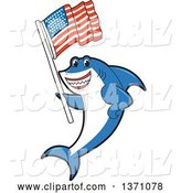 Vector Illustration of a Cartoon Shark School Mascot Holding an American Flag by Toons4Biz