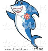Vector Illustration of a Cartoon Shark School Mascot Holding an Atom by Toons4Biz