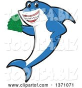 Vector Illustration of a Cartoon Shark School Mascot Holding Cash Money by Toons4Biz