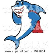 Vector Illustration of a Cartoon Shark School Mascot in a Super Hero Cape by Toons4Biz