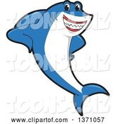 Vector Illustration of a Cartoon Shark School Mascot Leaning by Toons4Biz
