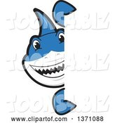 Vector Illustration of a Cartoon Shark School Mascot Looking Around a Sign by Toons4Biz